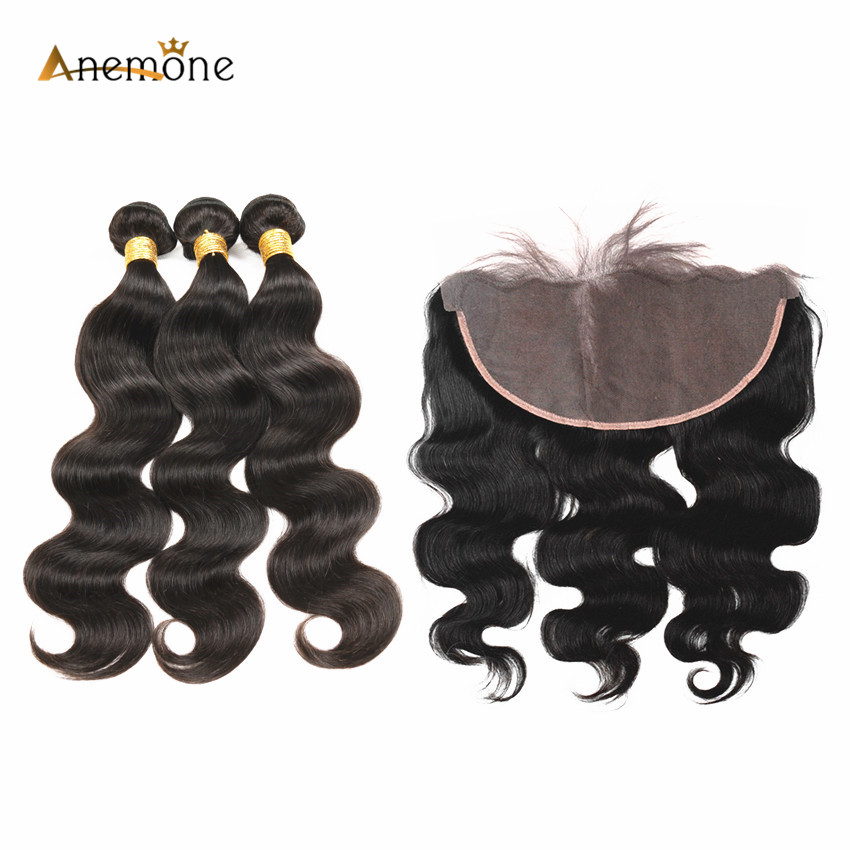 Anemone Hair 3 or 2 Bundles Brazilian Body Wave Human Hair With 13x6 Lace Frontal PrePlucked Closure with Baby Hair Remy Hair