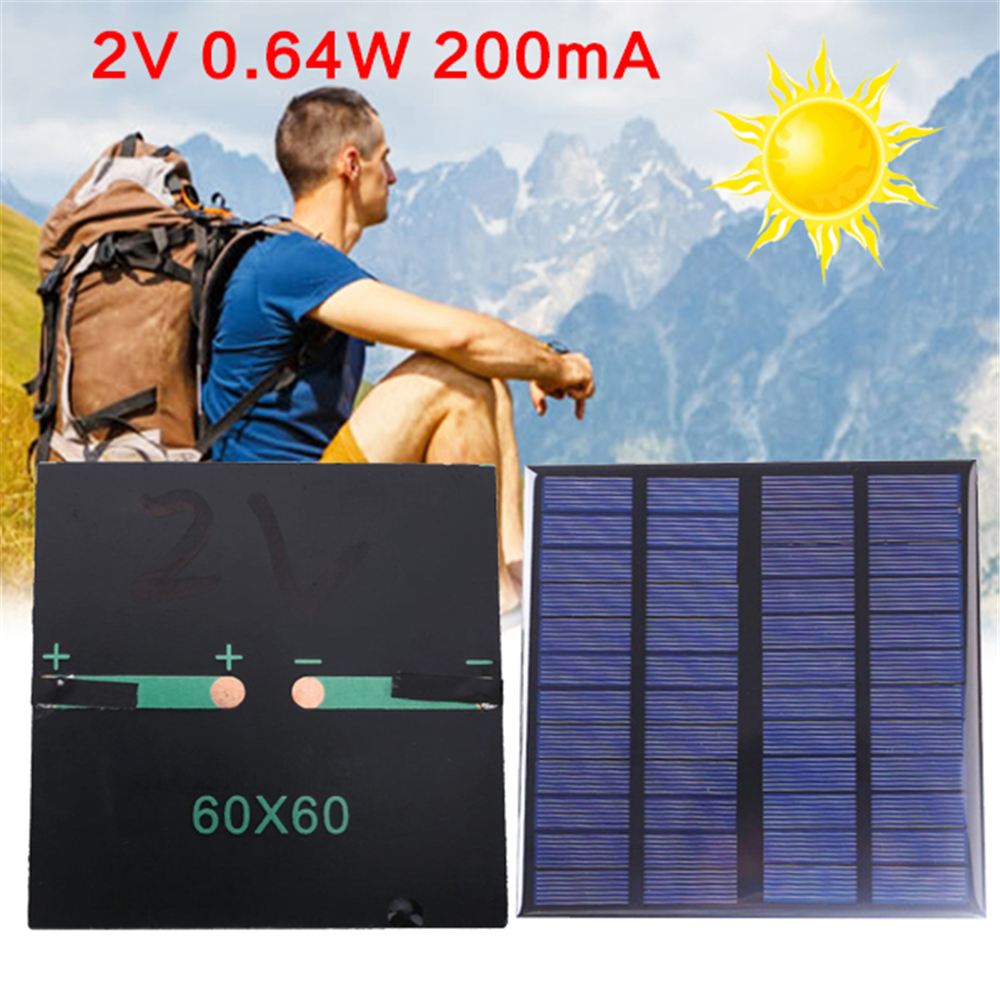 Cewaal Portable Universal 2V 0.64W 200mA Epoxy Solar Panel Cells Polycrystalline DIY 6*6*0.3cm Battery Accessories Outdoor