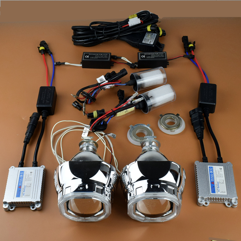 Car Styling New 2.5 inches Square Angel Eyes HID Halo Bi xenon Projector Lens Headlight Xenon Headlamp Lenses H1 H4 H7