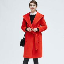 Long slim hooded elegant wool coat British Style young ladies dressing