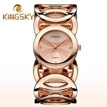 Marca Magia Nueva Dama de La Moda de Oro Relojes Mujeres Visten el Reloj Completo Acero Inoxidable de Cuarzo Reloj de Pulsera Reloj Mujer Relogio Feminino