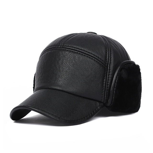 be157f9e37e Winter Fall Elderly Men Faux Leather Baseball Bomber Trapper Warm Thickened  Baseball Cap With Ears for