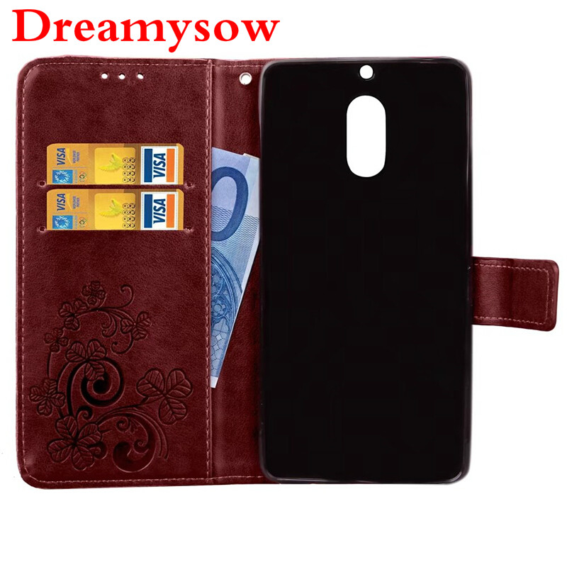 Leather Flip Wallet Cover for Nokia Lumia 930 640 630 535 530 Luxury Leather with Lucky 4 Leaves Pattern Case For Nokia 8 6 5 3