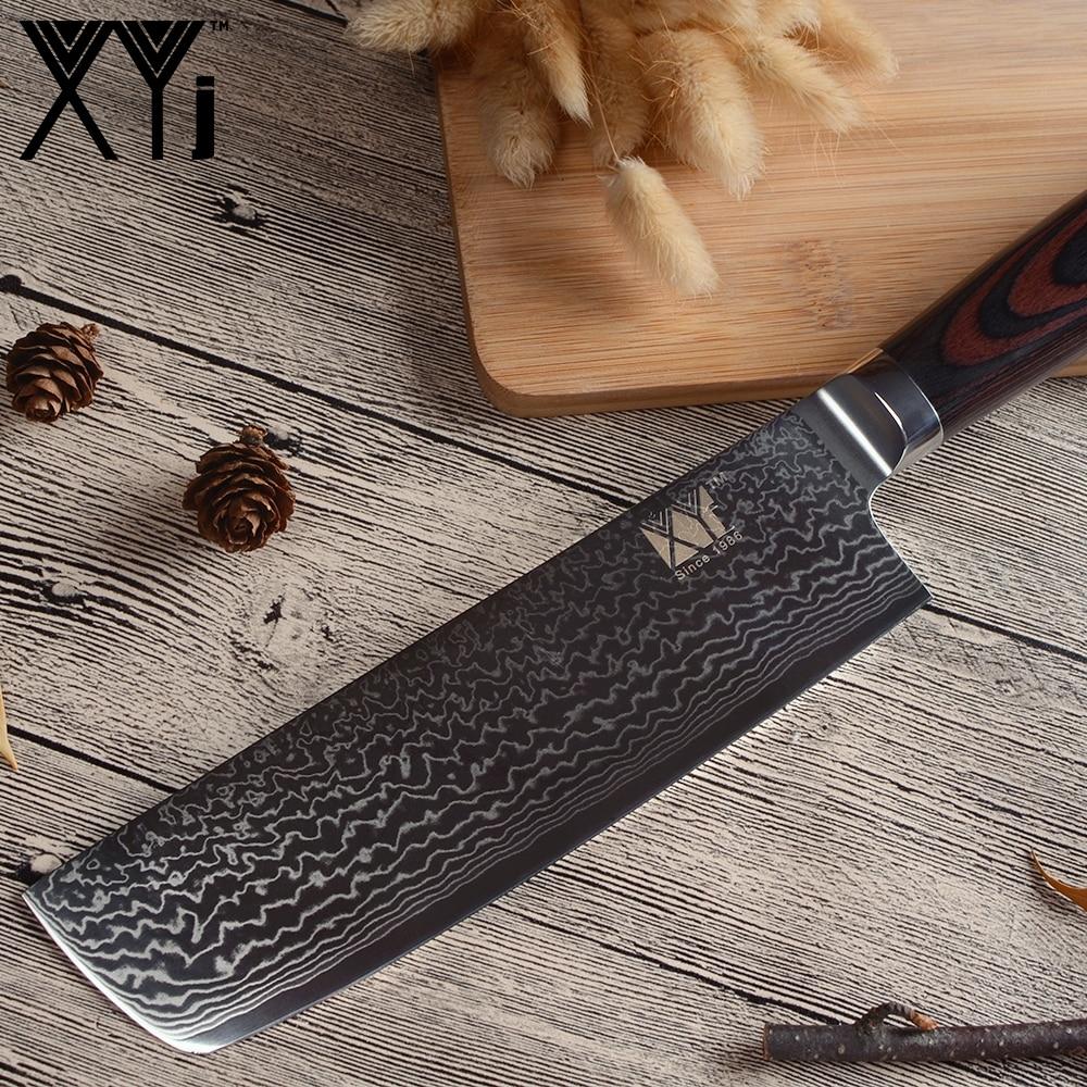 XYj Nakiri ダマスカスナイフ 67 層 VG10 ダマスカス鋼 7 インチ包丁 Ergonomic グリップ色木製ハンドルチョッピングナイフ  グループ上の ホーム&ガーデン からの キッチンナイフ の中 3