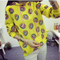 2017 New Cute donuts Pullover Sweatshirt Hoodie clothing autumn yellow street fashion women large size dress