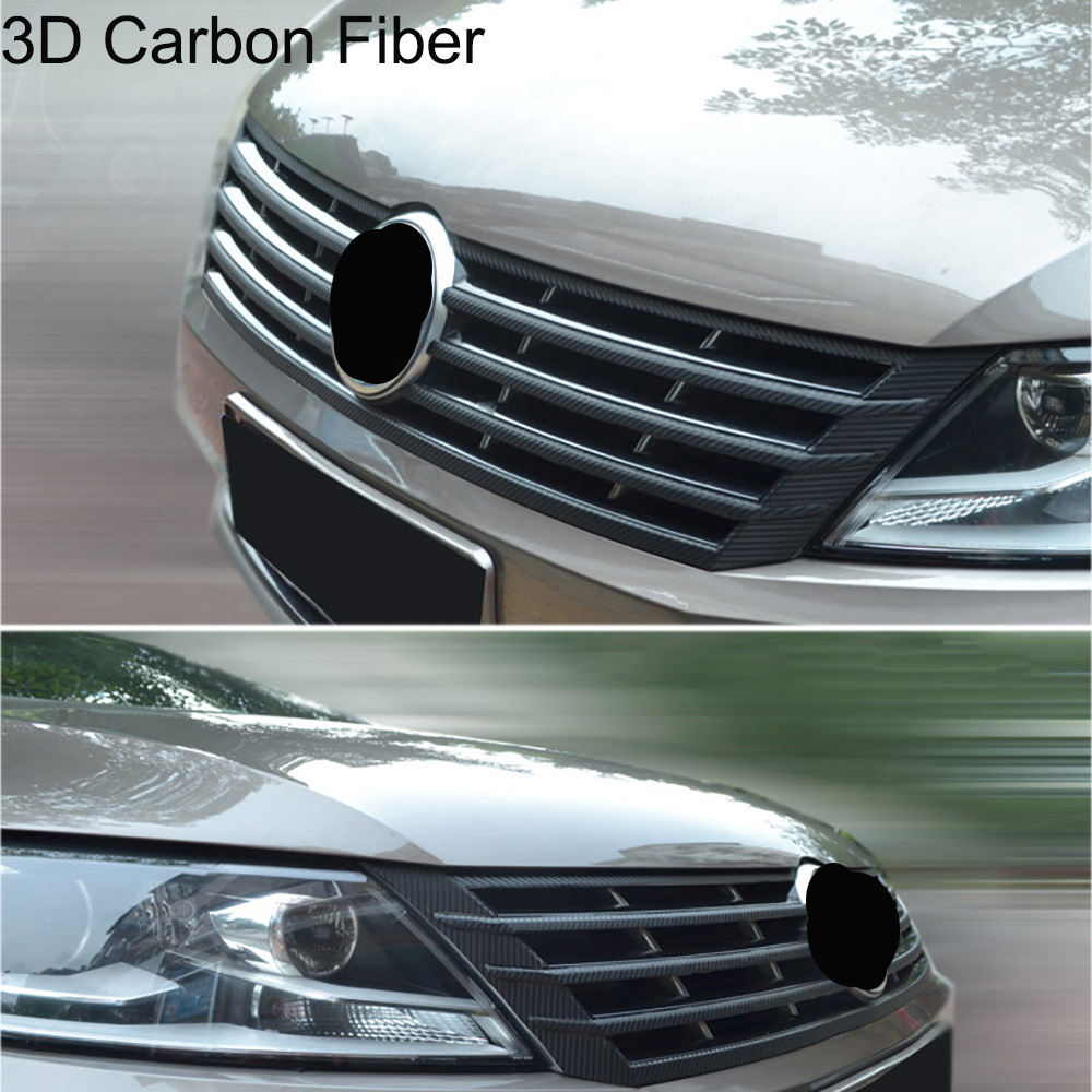 Carbon Fiber Grille Front Bumper Protection Film Car Stickers And Decals Car-styling For VW Volkswagen CC 2013-16 Accessories
