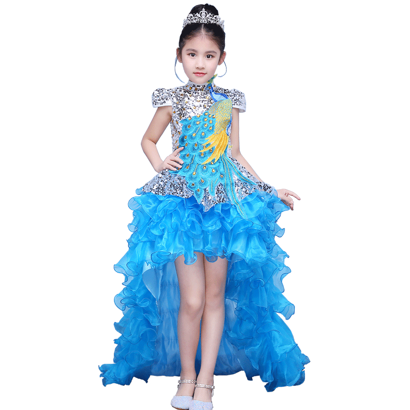 Children Evening Party Sequined Dress Model Girl Costumes Embroidery Tailing Princess Dress Ball Gown Kids Pageant Dresses E81 girls princess sofia evening dress girl ball gown party dresses children costumes princess elsa dress kids cinderella clothes
