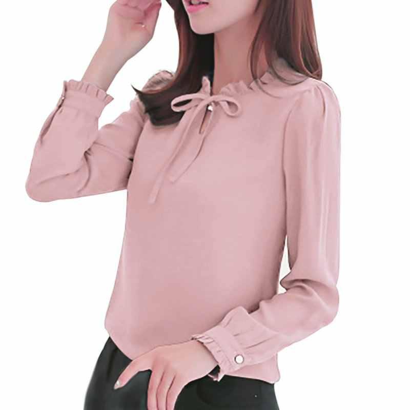 c705287d3b4 Для женщин рубашки с длинным рукавом и стоячим воротником бантом блузки  элегантные дамы Шифоновая Блузка Топы