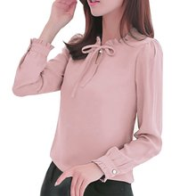 Fashion Women Office Work Wear Shirts Long Sleeve Stand Collar Bow Blouses Elegant Ladies Chiffon Blouse Tops цена