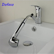 Dofaso kitchen sink tap Torneira Cozinha Polished Chrome Brass Double Spouts 360 Degree Pull Out bath faucet