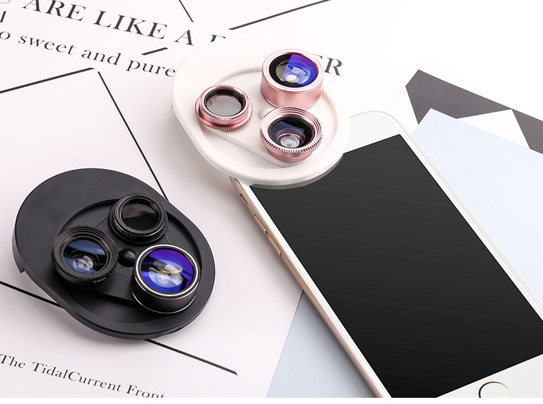 Cell Phone Camera Lens 4 in 1 Universal Professional Kit Fisheye Macro + Wide-angle + CPL Polarized Lens For iPhone Samsung 28