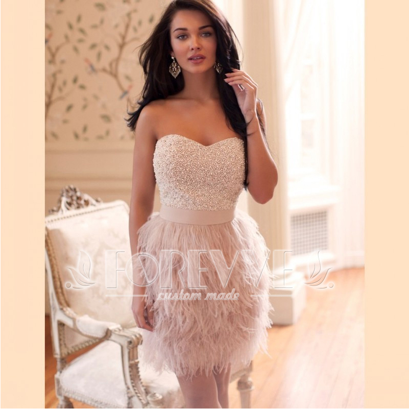 Luxury Beaded Pearls Feathers   Prom     Dress   2019 Sweetheart Short Formal Homecoming   Dresses   Party Gowns Vestidos De Fiesta Curto