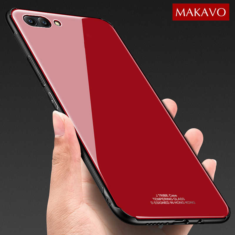 MAKAVO for Huawei Honor 10 Case Luxury V10 Hybrid Tempered Glass Back Cover Shockproof Sleeve Hard for Huawei Honor View 10