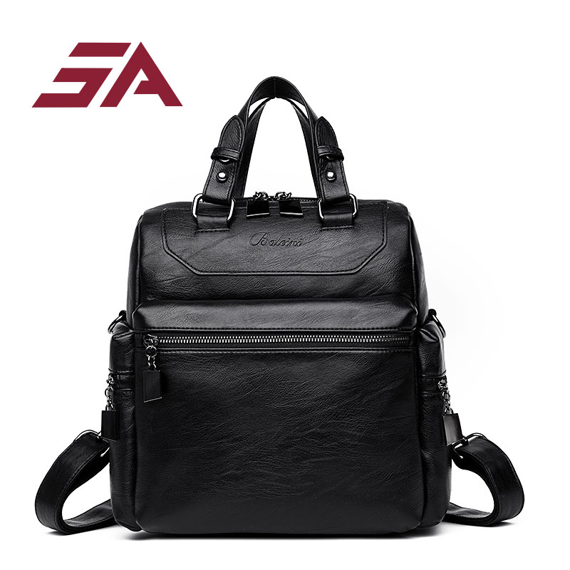 sa 2018 new arrival fashion backpacks multi pocket for women pu leather backpack travel school