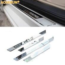 AOSRRUN,, Накладка на порог из нержавеющей стали, автомобильные аксессуары, Стайлинг для Skoda Rapid 2012 2013