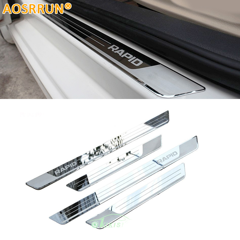 все цены на AOSRRUN Free shipping Stainless Steel Door Sill Scuff Plate car accessories Car-styling For Skoda Rapid 2012 2013 2014 онлайн