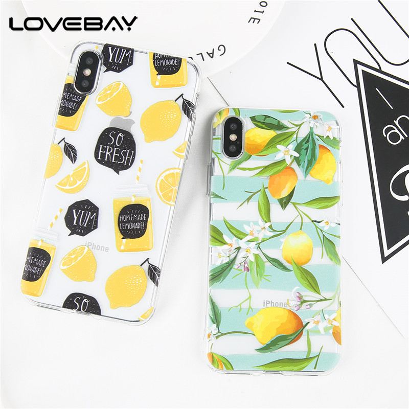 Lovebay Phone Case For iPhone X 8 7 6 6s Plus Cartoon Fruit Delicious Summer Cactus Flower Soft TPU Cover Cases For iPhone X