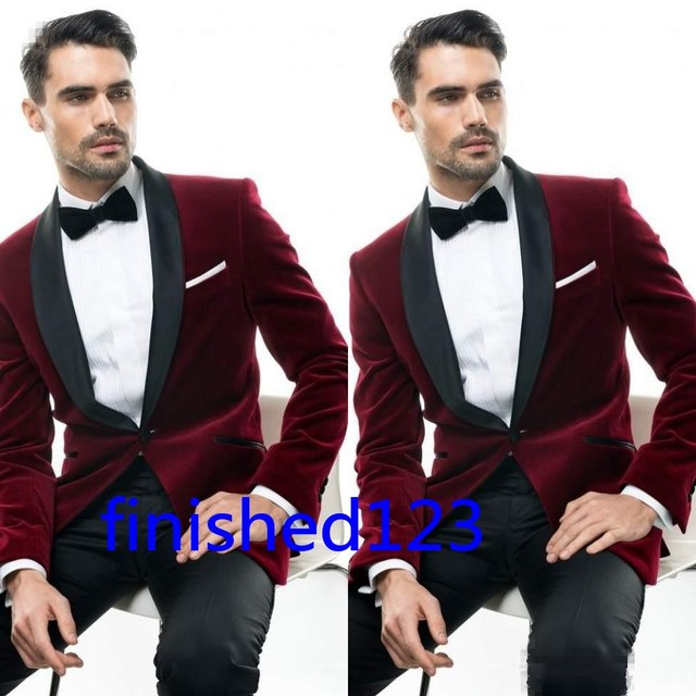 f48d7022b39 New Arrivals Dark Red Velvet Mens Suits Groom Tuxedos Groomsmen Wedding  Party Dinner Suits (Jacket+Pants+Bow Tie) W:101