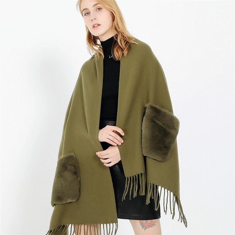 2018 Oversize Strick Pullover Strickjacke Mit Hut Winter Faux Kaninchen Fell Poncho Frauen Gedruckt Designer Weibliche Lange Ärmel Schal
