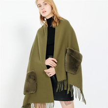 Luxury Brand Faux Fur Poncho Winter Cashmere Women's Scarf Warm Wool Large Shawls Wrap Cape Windproof Sleeve Scarves Pashmina