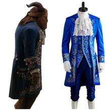 Costume Cosplay belle et bête Dan Stevens Prince uniforme bleu Costume Cosplay tenue Costume pour fête d'halloween adulte hommes(China)