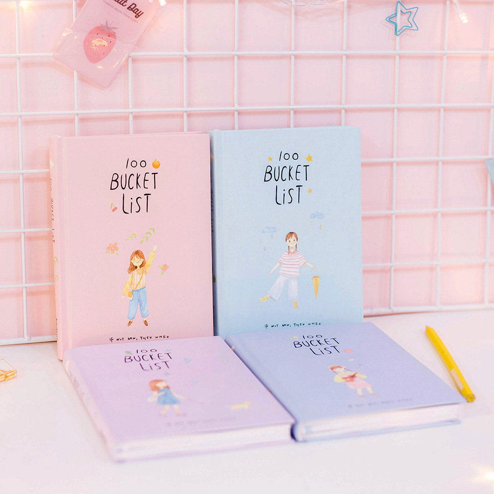 1 pc Season 2 Korean Kawaii 100 Bucket Wish List Plan To Do Notebook Creative Gift Set School Stationary A5