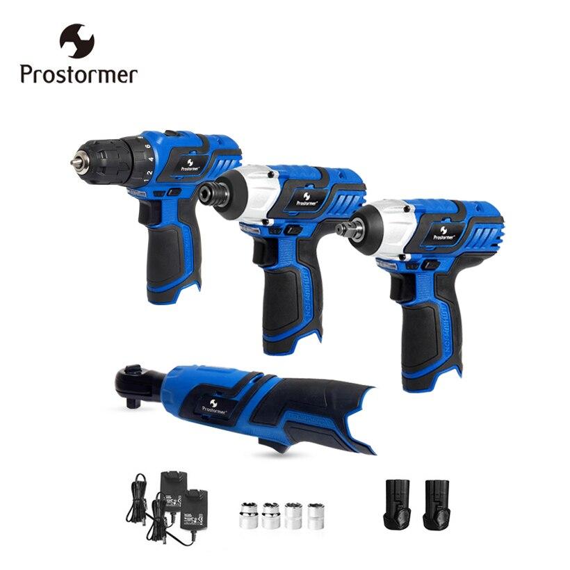 Prostormer 12 В беспроводной электрический drillElectric ключ трещотка электрическая отвертка Перезаряжаемые литиевая батарея Мощность инструментов