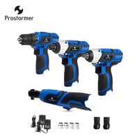 Prostormer 12V Cordless Electric drillElectric ratchet wrench Electric screwdriver Rechargeable lithium battery Power Tools Kit