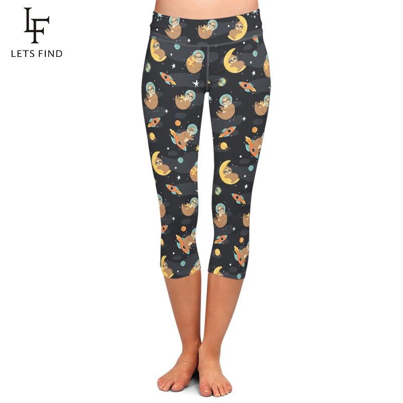 LETSFIND New Women Black Capri Leggings Fashion 3D Cartoon Sloth Print High Waist Elastic Mid-Calf Leggings for Summer