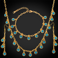 Turquoise Turkey Natural Stone Jewelry Set Gift For Women 18K Plated Real Gold Necklace Bracelet Earrings