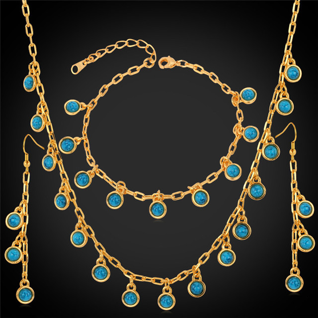 Collare Turkish Nature Stone Jewelry Sets For Women Wedding Gold