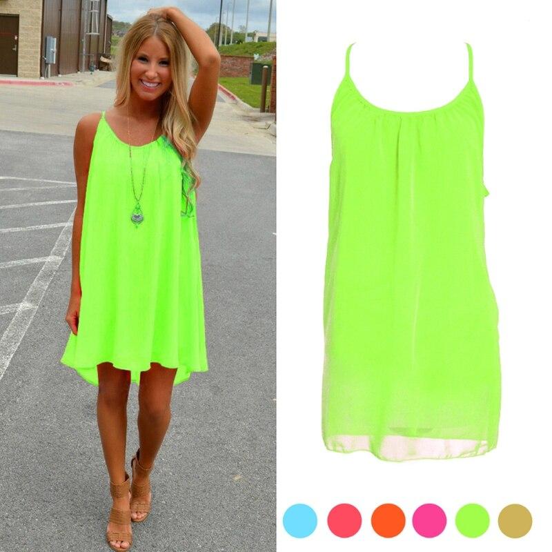 2018 Women Summer Beach Mini Dress Femme Fluorescence Chiffon Off Should Hollow out A-Line Dresses Braces Dress Women Clothing