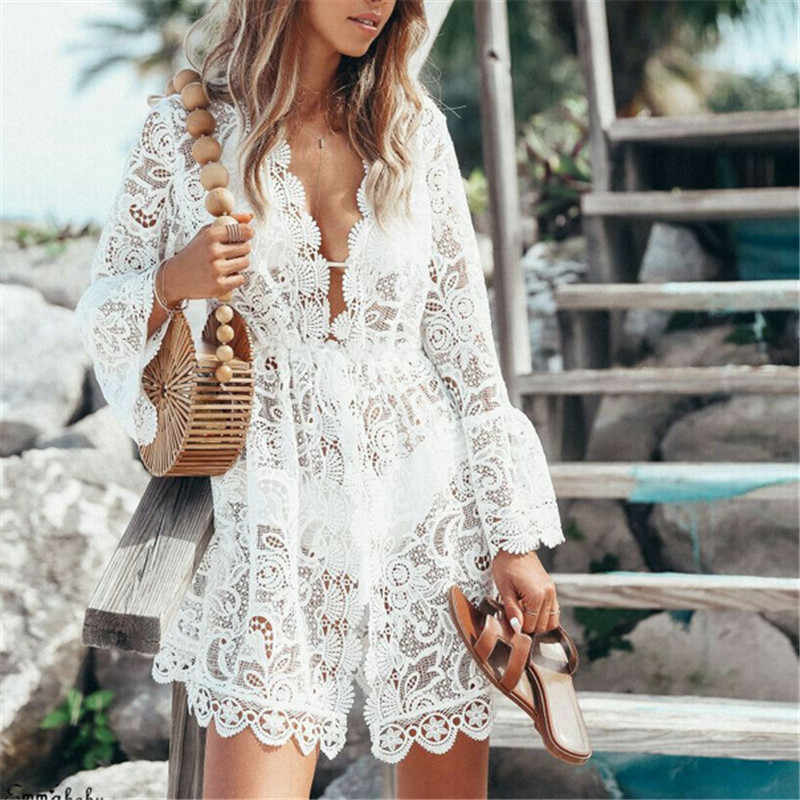 Summer Women Deep V Neck Lace Floral Bikini Cover Up Beach Woman Hollow Crochet Beachwear Swimsuit Cover Ups Dress