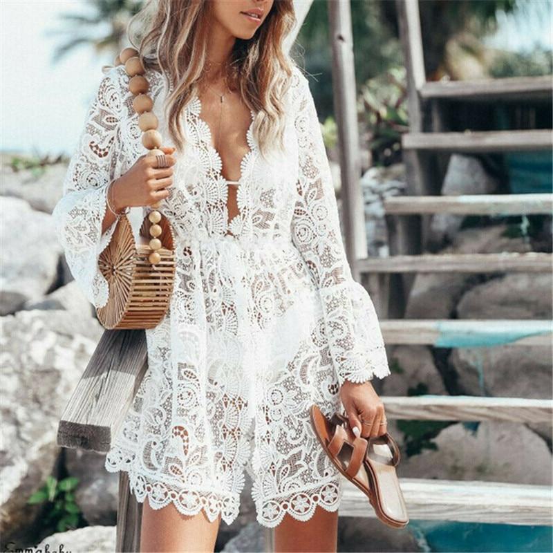 Summer Women Deep V Neck Lace Floral Bikini Cover Up Beach Woman Hollow Crochet Beachwear Swimsuit Cover Ups Dress