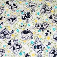 Tela de algodón Kokka japonesa de medio metro tela de retales para coser Vintage Alicia en el país de las Maravillas B