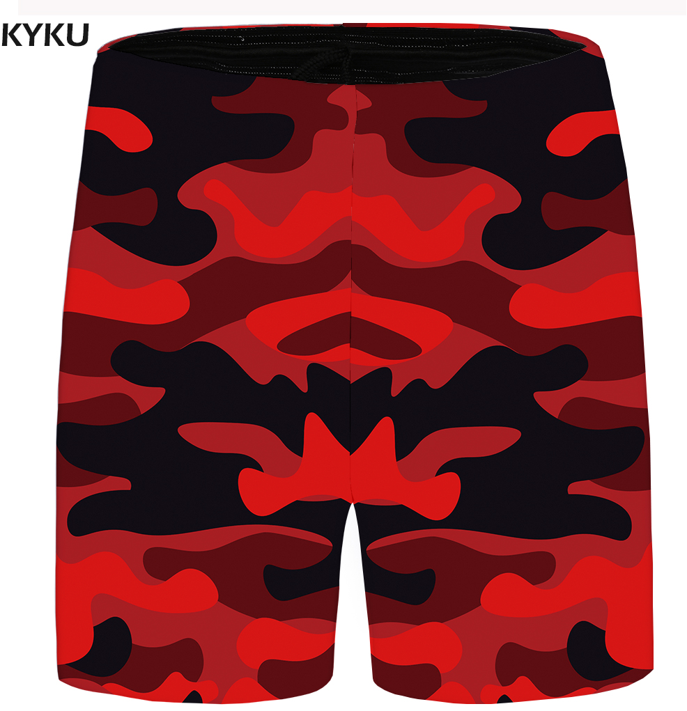 KYKU Brand Camo Shorts Men Military Beach Shorts Cargo Vintage Red Casual Mens Short Pants 2018 Summer Bottoms Plus Size