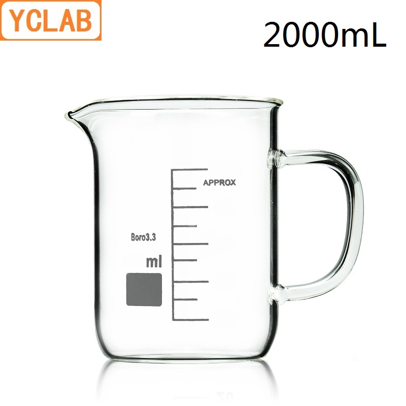 YCLAB 2000mL Beaker Low Form Borosilicate 3.3 Glass 2L with Graduation Handle Spout Measuring Cup Laboratory Chemistry Equipment 2000ml chemistry laboratory stainless steel measuring beaker cup with pour spout
