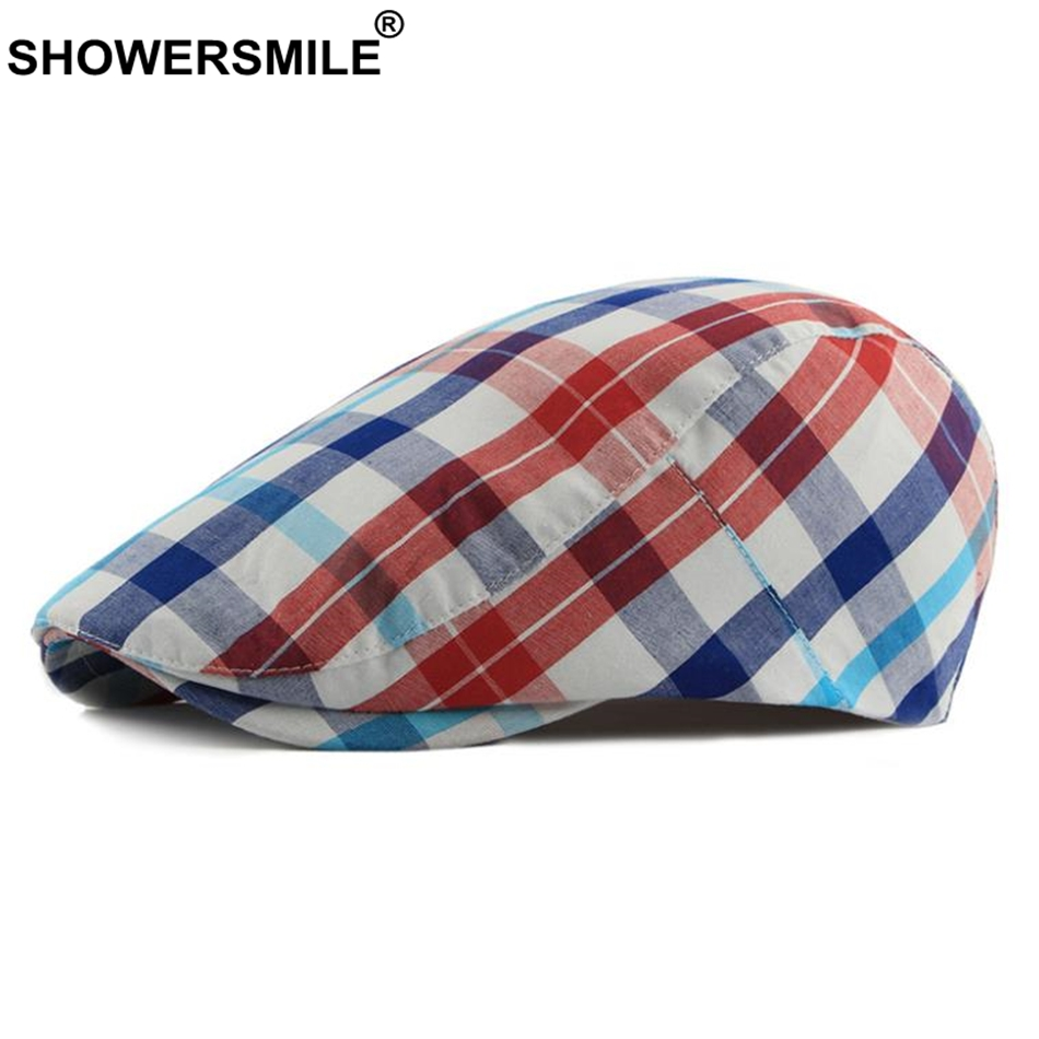 SHOWERSMILE Red Plaid Cotton Flat Cap For Men Spring Summer Women Beret Hat Male Female British Style Casual Ivy