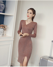 NiceMix 2019 autumn winter sping women knitted long sleeve sweater dress elastic slim sexy bodycon v neck party sequin dresses
