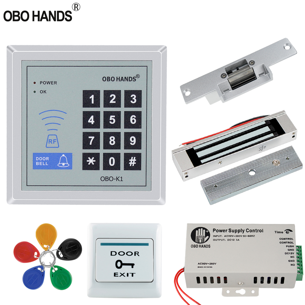 OBO Hands Access Control System kit 125KHz RFID Reader Keypad with Electric Lock 180KG Magnetic Strike + Power Switch 500 users obo hands rfid biometric fingerprint access control system kit electric magnetic bolt strike lock for door power supply full set