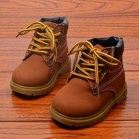 2016 Autumn Winter Kids Boots Boys Front Tie Martin Short Boot Children Shoes Boys Fashion Boys