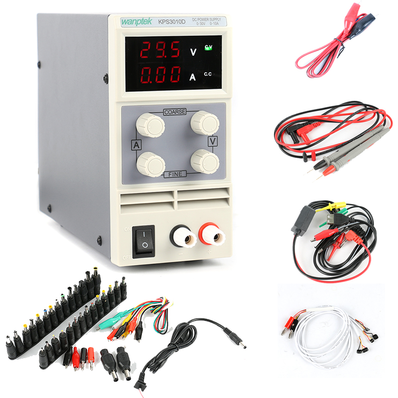 Display LED Adjustable DC Power Supply 30V10A FOR SmartPhone and Notebook Repair Power Supply + DC AC JACK SET + Repair cable