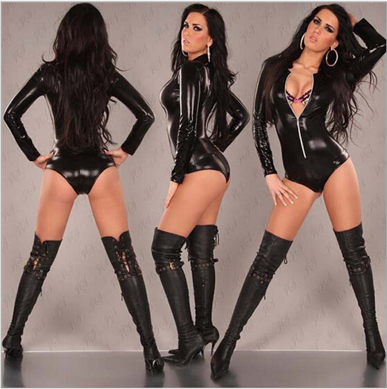 free pp Women <font><b>Sexy</b></font> Leather Dress Black Gold Long Sleeve Pole Dance Teddy Bodysuit Catsuit PU Clubwear <font><b>2016</b></font> <font><b>Sexy</b></font> Club Dresses image