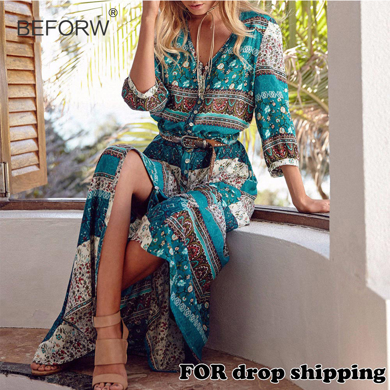 Women Long Maxi Dresses Bohemia V-neck Three Quarter Sleeve Floral Print Ethnic Summer Beach Women's Split Stylish Style Dress