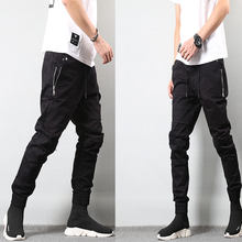 Japanese Style Fashion Mens Jeans Jogger Pants Destroyed Drawstring Ripped Jeans Cargo Pants Homme Streetwear Hip Hop Jeans Men(China)