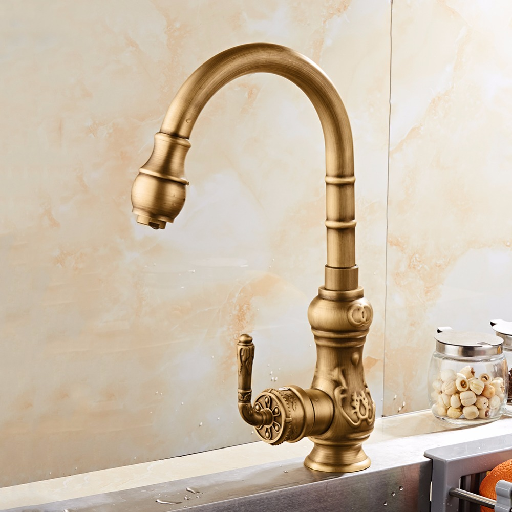 Free Shipping Brass kitchen Faucet Single Handle Antique Finish ...
