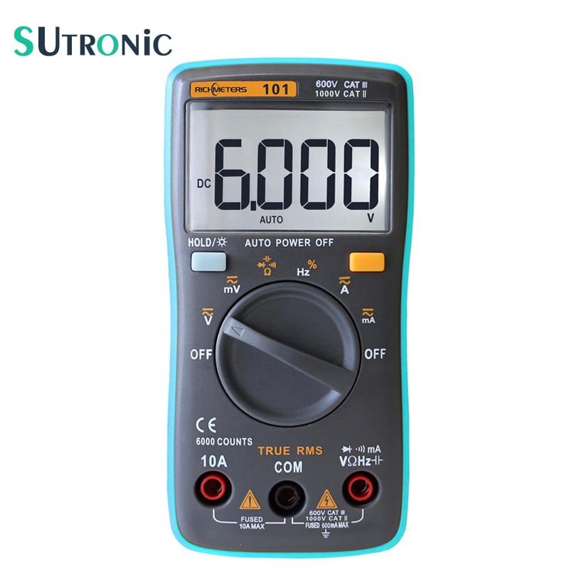 RM101 Auto Range Multimetro Digitale 6000 conti Retroilluminazione Grande Schermo Buzzer Protezione AC DC Amperometro Voltmetro Ohm Portatile