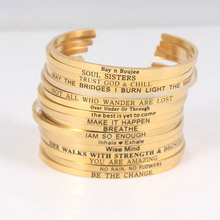Gold Stainless Steel Bangle Engraved Positive Inspirational Quote fashion Cuff Mantra Bracelets For Women