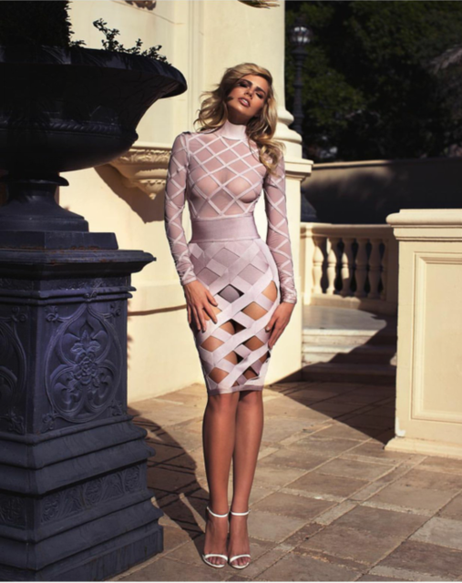 Grid Skir T O Neck Long Sleeve Bare Midriff Bandage Dress Bodycon Dresses A539