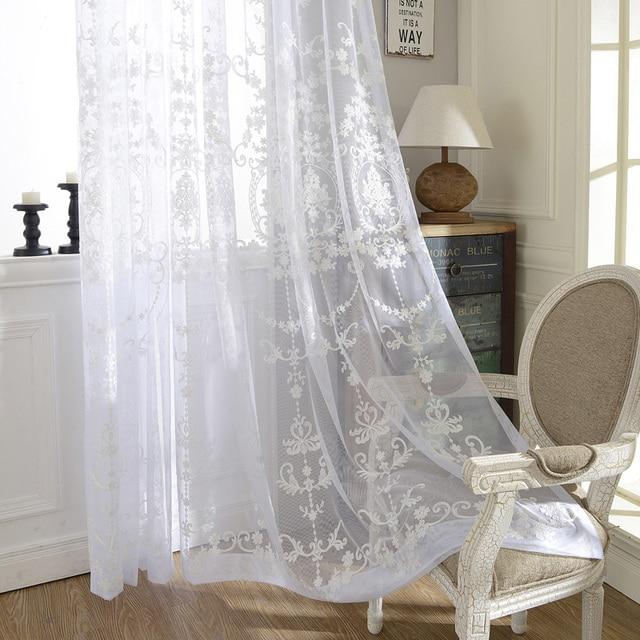 1 piezas confeccionadas bordados cortinas transparentes lr suyuan elegante dormitorio de lino cortinas - Cortinas Lino